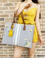 Tory Burch Gemini Link Coacted Canvas Large Carryall Tote Applique Yellow Floral