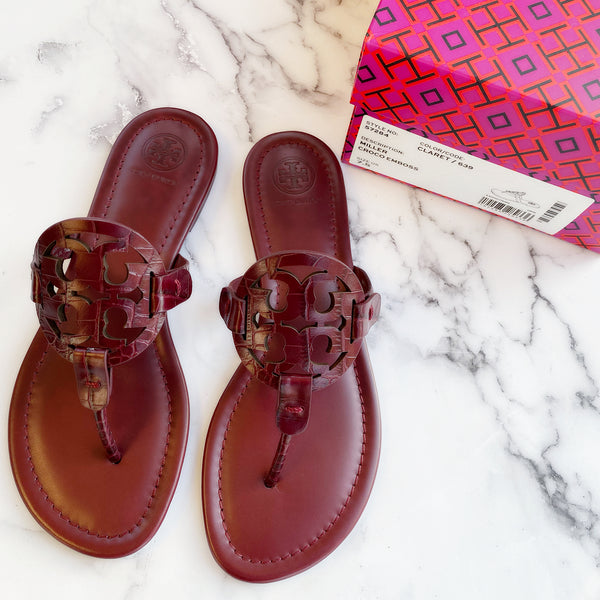 Tory Burch Miller Sandals Embossed Leather Claret Burgundy 8.5 - Gaby's Bags