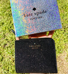 Kate Spade Lola Glitter Boxed Small L-Zip Bifold Wallet Black Gift Box