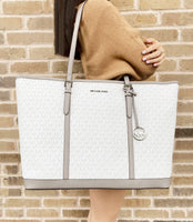 Michael Kors Jet Set Travel XL Tote Bright White MK Signature Pearl Grey