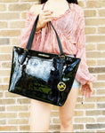 Michael Kors Ciara Large Top Zip Tote Metallic Signature Black