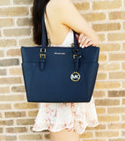 Michael Kors Charlotte East West Top Zip Tote Navy Saffiano Leather