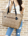 Coach F79609 Gallery Tote Coated Canvas Signature Khaki Black - Gaby's Bags