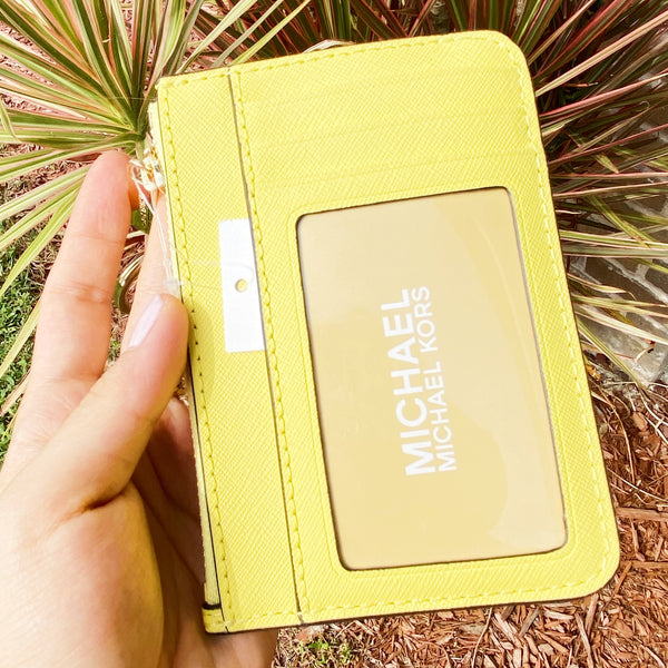 Michael Kors Jet Set Key Ring Top Zip Coin Pouch ID Card Holder Sunshine Yellow
