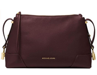 Michael Kors Crosby Medium Messenger Bag Crossbody Pebbled Leather Barolo
