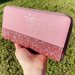Kate Spade Greta Court Neda Zip Around Wallet Glitter Pink Penoy