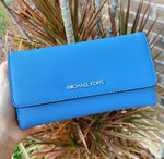 Michael Kors Jet Set Travel Large Trifold Wallet French Blue Saffiano Leather
