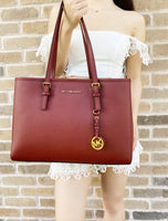 Michael Kors Jet Set Travel Brandy Large East West Leather Tote Dark Red