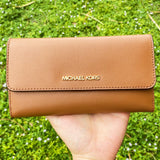 Michael Kors Jet Set Travel Large Trifold Wallet Signature MK Luggage Brown