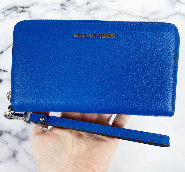 Michael Kors Jet Set Travel Large Flat Multifunction Phone Wallet Grecian Blue