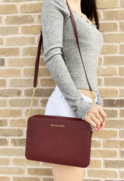 Michael Kors Jet Set Large East West Crossbody Merlot - Gaby's Bags