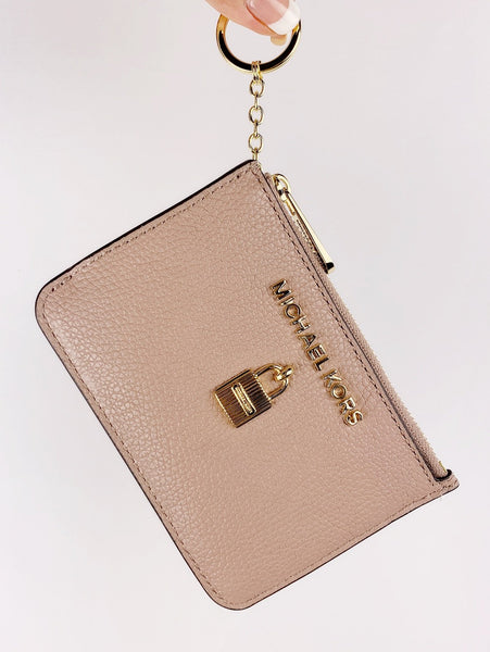 22d47d21ca8e Michael Kors Jet Set Travel Zip Coin Wallet ID Keyring Card Holder Fawn