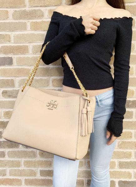 Tory Burch McGraw Slouchy Chain Shoulder Slouchy Tote Devon Sand - Gaby's Bags