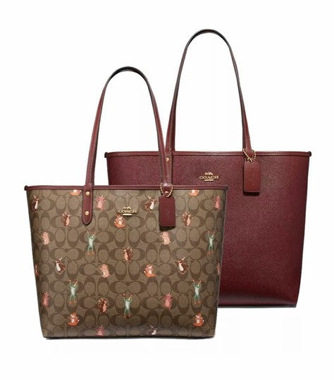 Coach F80246 Reversible City Tote Khaki Signature Party Print - Gaby's Bags