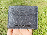 Michael Kors Giftables Large Card Holder Dusty Blue Glitter - Gaby's Bags