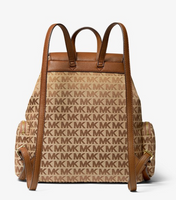 Michael Kors Abbey Large Cargo Drawstring Backpack Canvas Beige MK Signature