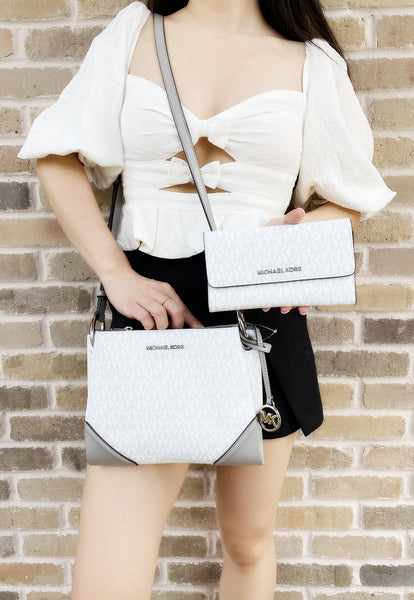 Michael Kors Nicole Large Triple Compartment Crossbody White MK + Trifold Wallet - Gaby's Bags