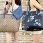 Coach F36658 F32084 Reversible City Tote Signature Khaki Multi Blue Floral - Gaby's Bags