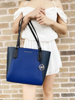 Michael Kors Kimberly Small Bonded Top Zip Tote Colby Blue Multi - Gaby's Bags