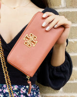 Tory Burch Britten Continental Zip Around Wallet Tramonto Pink Leather