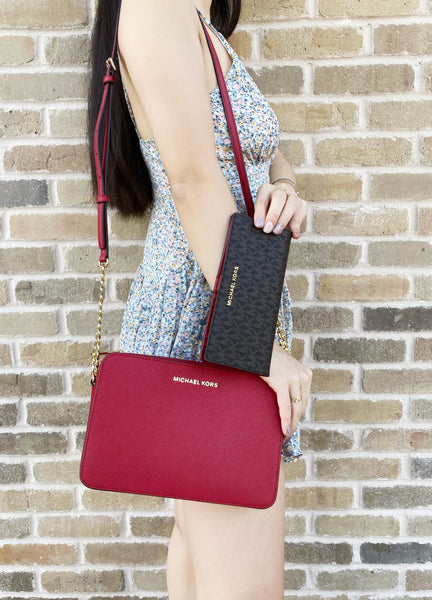 Michael Kors Jet Set Large East West Crossbody Scarlet + Brown Red Wallet - Gaby's Bags