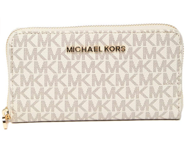 Michael Kors Jet Set Multifunction Zip Around Wallet Monogram Vanilla MK
