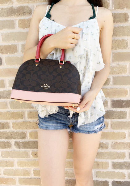 Coach F66894 Mini Sierra Signature Brown Bag Red Pink - Gaby's Bags