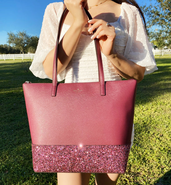 Kate Spade Greta Court Penny Tote Bag Glitter Holiday Purse Handbag Cherrywood