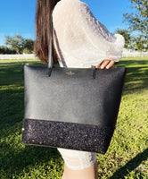 Kate Spade Greta Court Penny Glitter Large Top Zip Tote Black Glitter