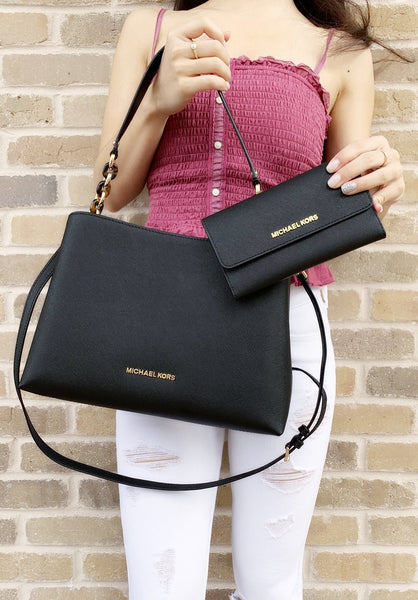 35c675703989 Michael Kors Sofia Portia Large East West Satchel Crossbody Black Wallet SET