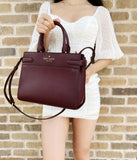 Kate Spade Staci Medium Saffiano Leather Top Zip Satchel Crossbody Cherry Wood