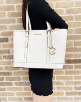 Michael Kors Jet Set Travel Small Top Zip Tote Optic White Saffiano Leather