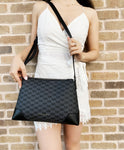 Michael Kors Crosby Medium PVC Leather Messenger Crossbody Black MK Grey