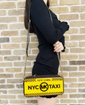 Michael Kors New York City Leather Taxi Yellow License Plate Box Clutch Bag