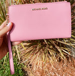 Michael Kors Jet Set Large Double Zip Wristlet Wallet Carnation Pink Saffiano