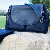 Tory Burch Thea Nylon Travel Leather Baby Messenger Crossbody Diaper Bag Navy
