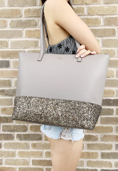 Kate Spade Greta Court Penny Glitter Large Top Zip Tote Gray Glitter - Gaby's Bags
