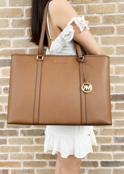 Michael Kors Sady Large Multifunctional Top Zip tote Luggage Brown Laptop Bag - Gaby's Bags