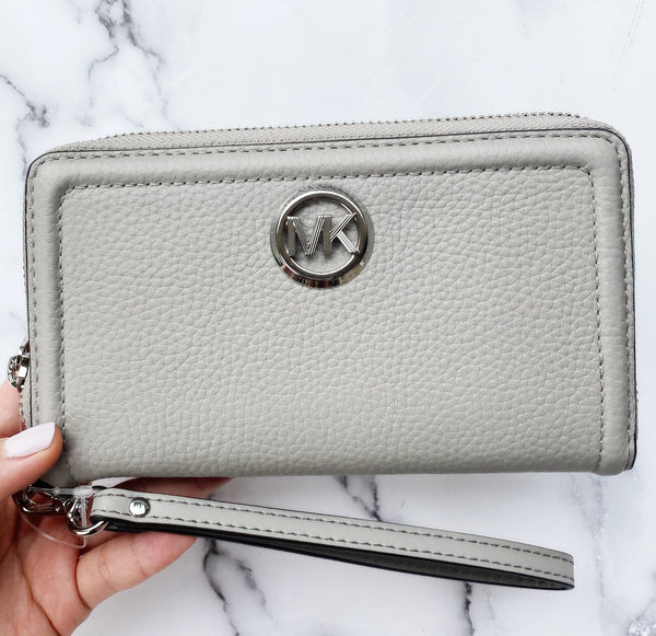 Michael Kors Jet Set Fulton Large Phone Wristlet Wallet Pearl Grey Leather