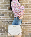 Michael Kors Nicole Triple Compartment Crossbody Bag MK Vanilla Pink Powder Blush