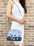 Michael Kors Emmy Floral Saffiano Leather Medium Crossbody Bag Pale Blue/Navy - Gaby's Bags
