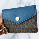Michael Kors Kala Keychain Card Case Brown MK Signature PVC Dark Chambray Blue