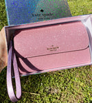 Kate Spade Lola Multifunctional Wristlet Wallet Glitter GIFT BOX Rose Pink