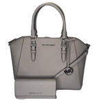 Michael Kors Ciara Large Top Zip Satchel Saffiano Pearl Grey + Trifold Wallet