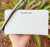 Michael Kors Jet Set Medium Zip Around Phone Holder Wallet Wristlet Bright White MK - Gaby's Bags