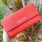 Michael Kors Jet Set Travel Large Trifold Wallet Saffiano Leather Mandarin