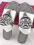 Tory Burch Miller Sandal Patent Leather Navy White Nautical Stripe 7 7.5