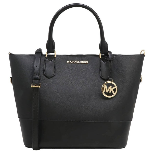 Michael Kors Trista Large Grab Bag Tote Crossbody Black Saffiano Leather