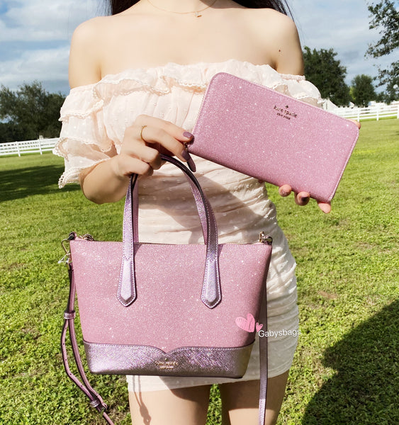 Kate Spade Lola Joeley Glitter Small Top Zip Satchel Rose Pink + Neda Zip Wallet