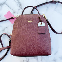 Kate Spade York Carter Mini Caden Leather Backpack Crossody Bag Cherrywood - Gaby's Bags
